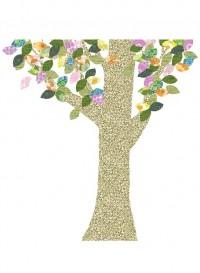 Arbre n°1 décor mural enfant en papier vintage