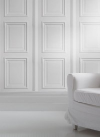 White Wood Panelling trompe l'oeil wallpaper