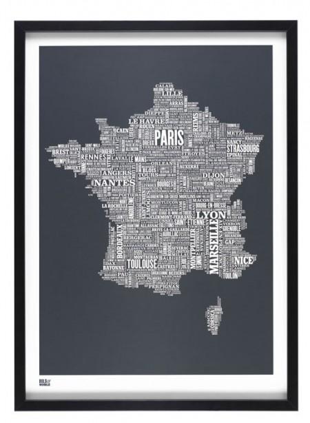 Affiche Plan de la France par Bold & Noble