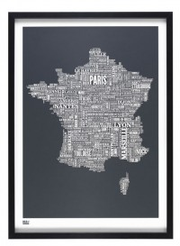Affiche Plan de la France par Bold & Noble