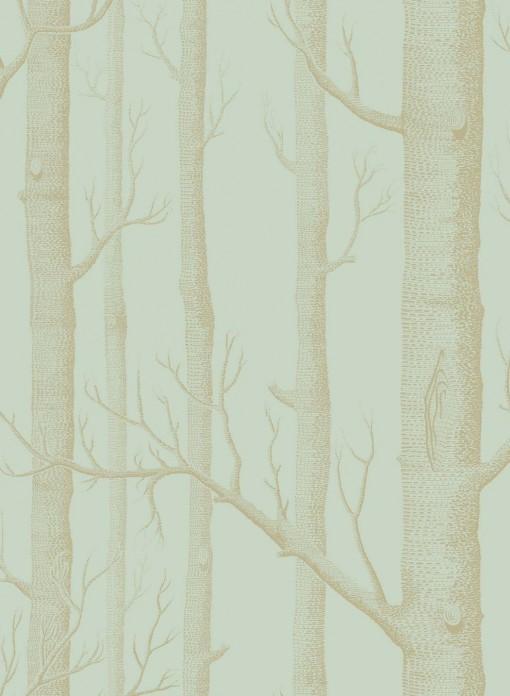 Papier Peint Woods Dore Sur Bleu Vert The Collection