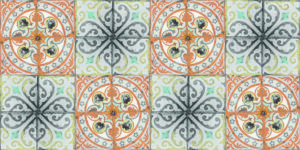Orange Rose Tiles patterned wallpaper by Louise Body