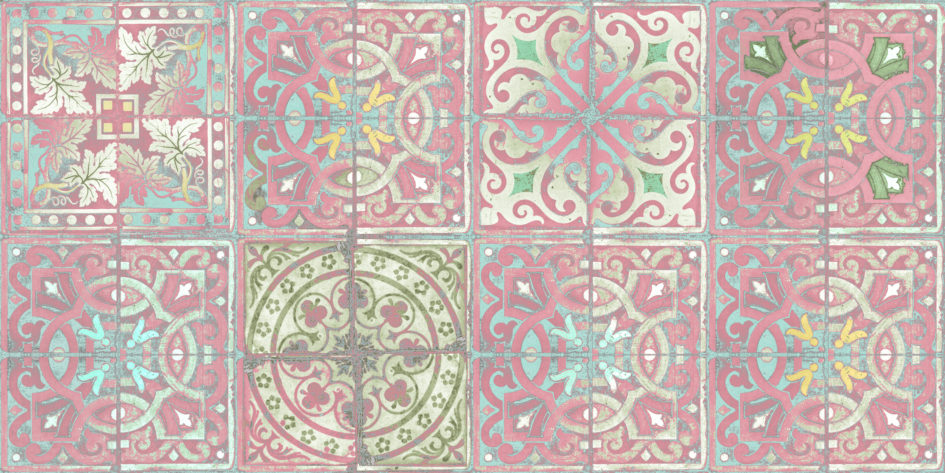 Patchwork Dusty Tiles patterned wallpaper by Louise Body