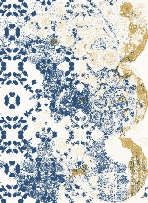 Papier peint State of Flow Leaf-Lace Indigo Toni Kjeld