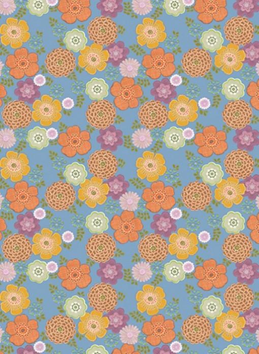 Papier peint XL Fleurs vintage fond bleu Inke
