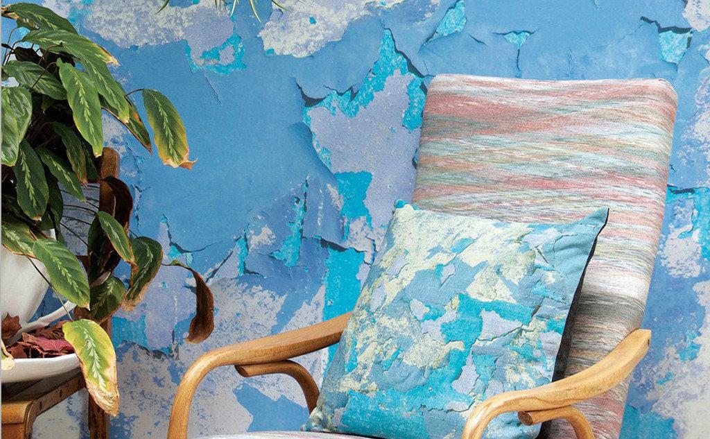 Peeling paint blue wallpaper by Ella Doran